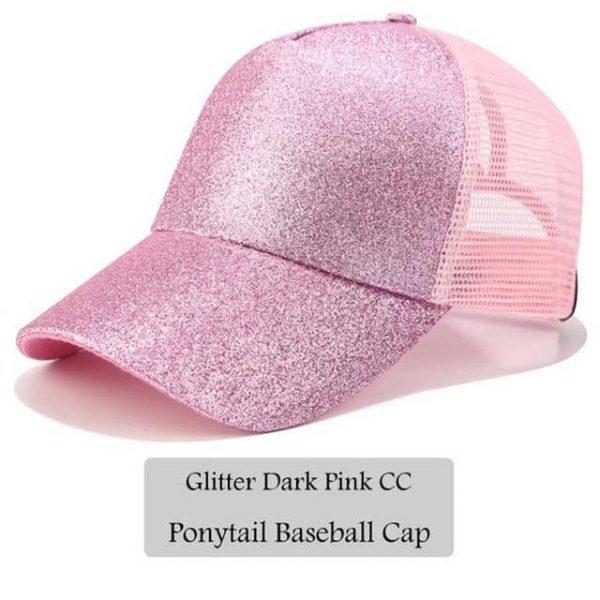 2018 CC Glitter Ponytail Baseball Cap Women Snapback Hat Summer Messy Bun Mesh Hats Casual Adjustable Sport Caps Drop Shipping 32