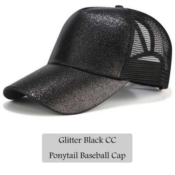 2018 CC Glitter Ponytail Baseball Cap Women Snapback Hat Summer Messy Bun Mesh Hats Casual Adjustable Sport Caps Drop Shipping 14