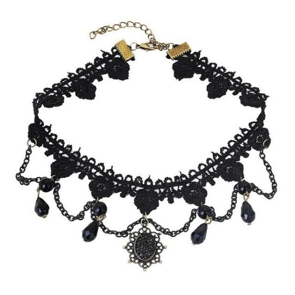 Collares Sexy Gothic Chokers Crystal Black Lace Neck Choker Necklace Vintage Victorian Women Chocker Steampunk Jewelry 6