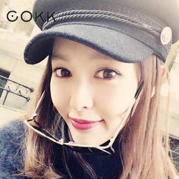 COKK Winter Hats For Women Winter Cap Wool Hat Female Button Baseball Cap Sun Visor Hat Gorras Casquette Black Fall Boina Bone 10
