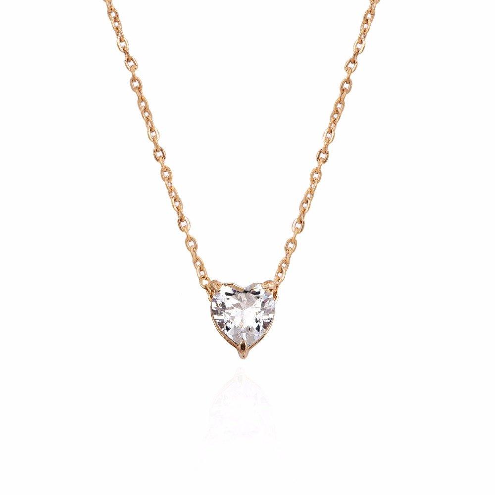Crystal Heart Necklace Pendants For Women Short Gold Necklace Chain Pendant Necklace Crystal Heart Choker Necklace Chocker Neck Cap Shop Store Free Shipping Worldwide
