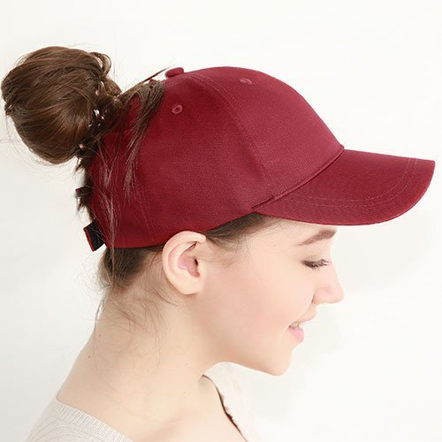 Ponytail Baseball Cap Women Messy Bun Baseball Hat Snapback 42