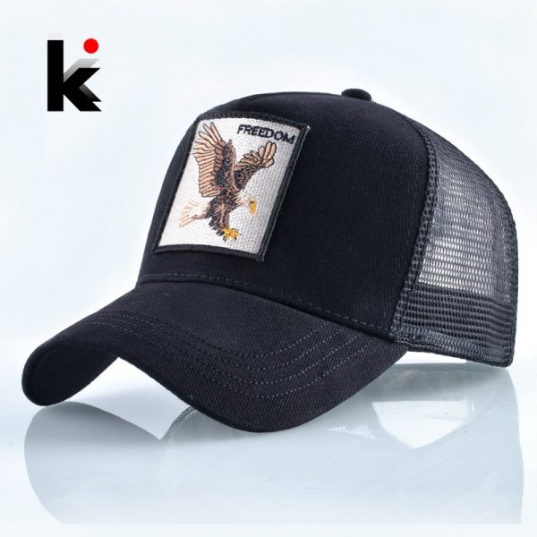 Fashion Animals Embroidery Baseball Caps Men Women Snapback Hip Hop Hat Summer Breathable Mesh Sun Gorras Unisex Streetwear Bone 1