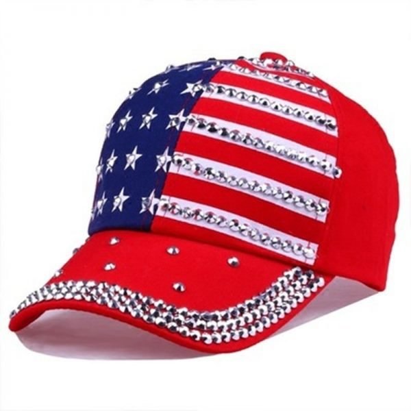 Genbitty High Quality Spring And Summer Star Pattern Baseball Cap Rivet Printed Women Men American Flag Snapback Hip Hop Hats 8