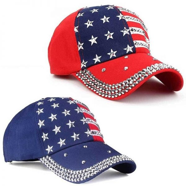 Genbitty High Quality Spring And Summer Star Pattern Baseball Cap Rivet Printed Women Men American Flag Snapback Hip Hop Hats 2