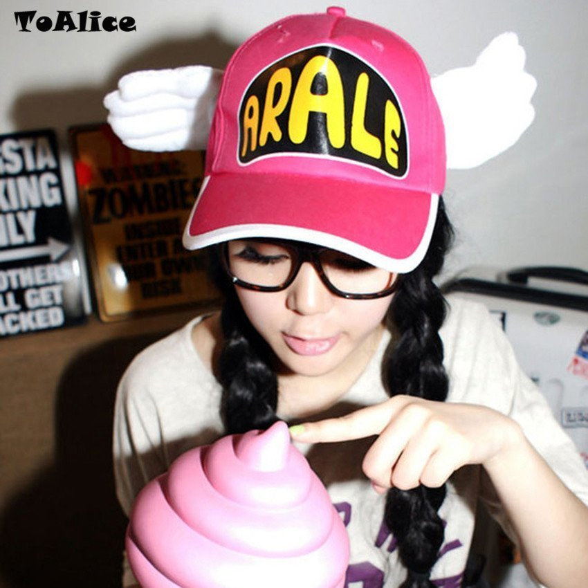 Japanese Anime Cute Dr.Slump Arale Angel Wings Anime Cosplay Hats Summer Cap Baseball Cap for Adult Size 3