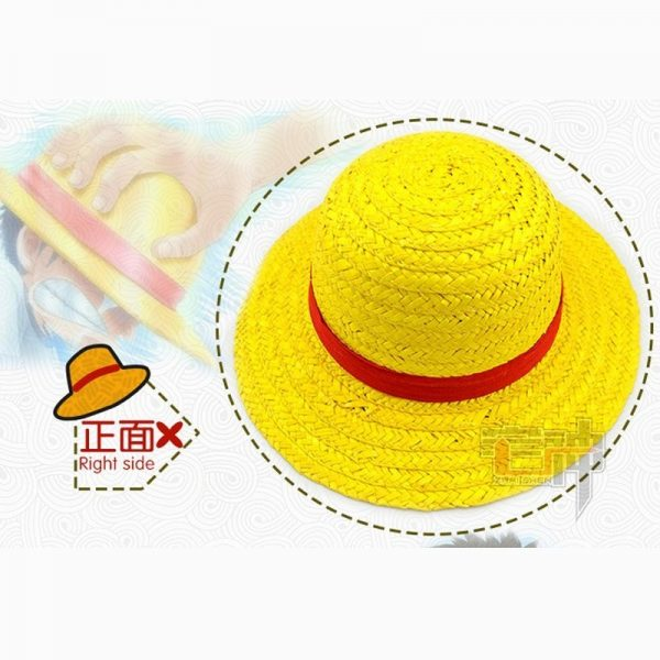 One Piece Luffy Anime Cosplay Straw Boater Beach Hat Cap Halloween straw hat 4