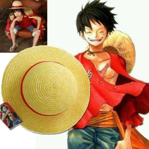 One Piece Luffy Anime Cosplay Straw Boater Beach Hat Cap Halloween straw hat 2