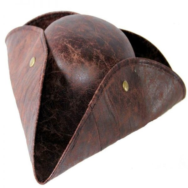 Pirate Hat Pirates of The Caribbean Pirate Captain Hat Cosplay Party Jack Triangle Hat Faux Leather Unisex Pirate Halloween Cap 8