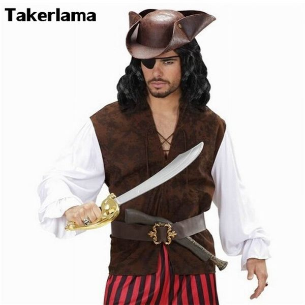 Pirate Hat Pirates of The Caribbean Pirate Captain Hat Cosplay Party Jack Triangle Hat Faux Leather Unisex Pirate Halloween Cap 2