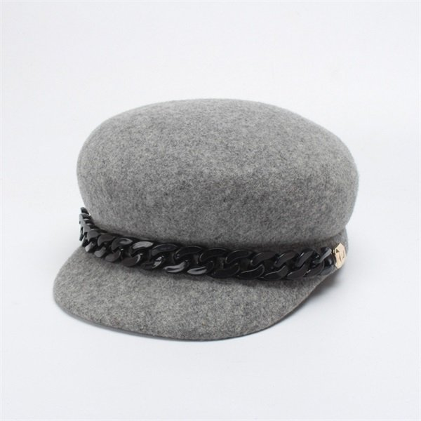 ROSELUOSI Women Fashion Chain Newsboy Caps Autumn Winter 100% Wool Felt Hat Female Solid Color Gorras Casequette 16