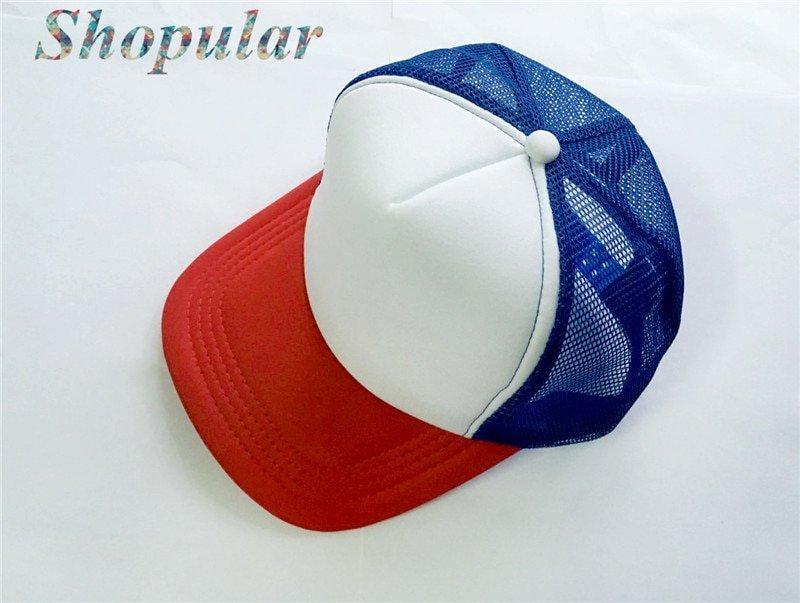 Stranger Things Dustin HAT RED WHITE BLUE Trucker Baseball Mesh Cap Adjustable Hat Costumes Cosplay 3