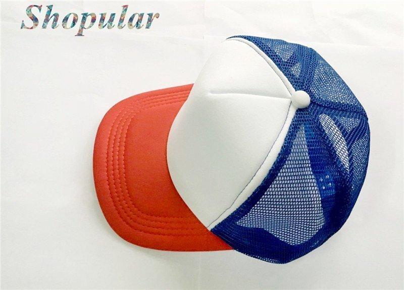Stranger Things Dustin HAT RED WHITE BLUE Trucker Baseball Mesh Cap Adjustable Hat Costumes Cosplay 7