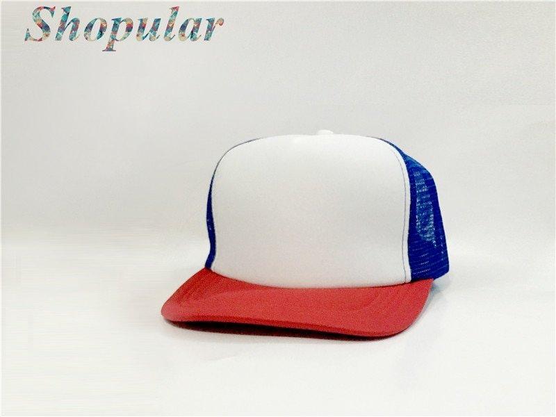 Stranger Things Dustin HAT RED WHITE BLUE Trucker Baseball Mesh Cap Adjustable Hat Costumes Cosplay 9