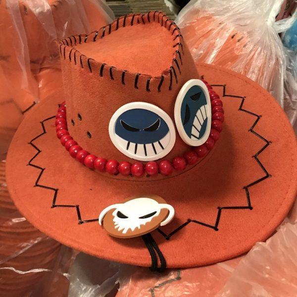 Wholesale Price One Piece Portgas D Ace Cosplay Hat Cowboy Hat Souvenirs Pirates Caps With Bones Skull Toys 12