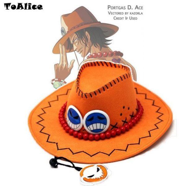 Wholesale Price One Piece Portgas D Ace Cosplay Hat Cowboy Hat Souvenirs Pirates Caps With Bones Skull Toys 14