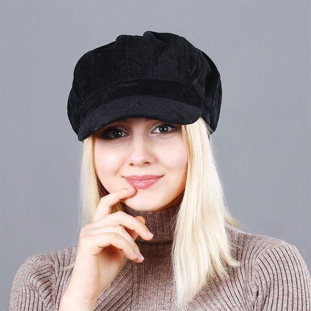 Women's Beret Hat New Arrivals Octagonal Hats For Women Fashion Corduroy Vintage Boina Autumn Winter  Newsboy Caps 19