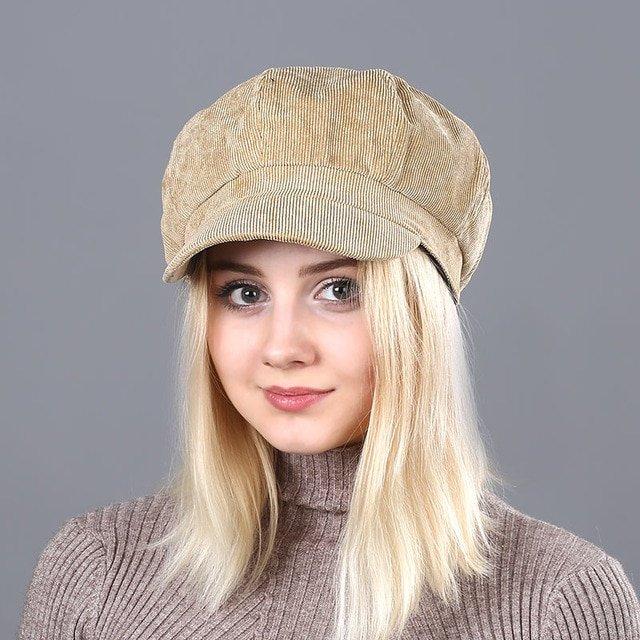 Women's Beret Hat New Arrivals Octagonal Hats For Women Fashion Corduroy Vintage Boina Autumn Winter  Newsboy Caps 21