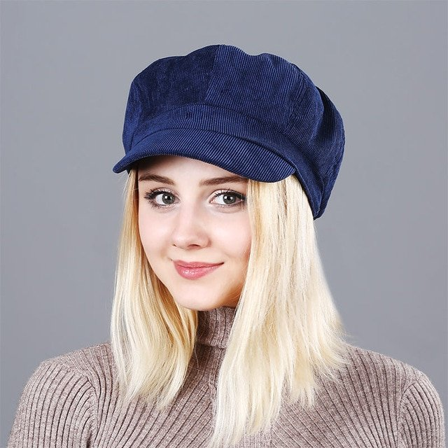 Women's Beret Hat New Arrivals Octagonal Hats For Women Fashion Corduroy Vintage Boina Autumn Winter  Newsboy Caps 13