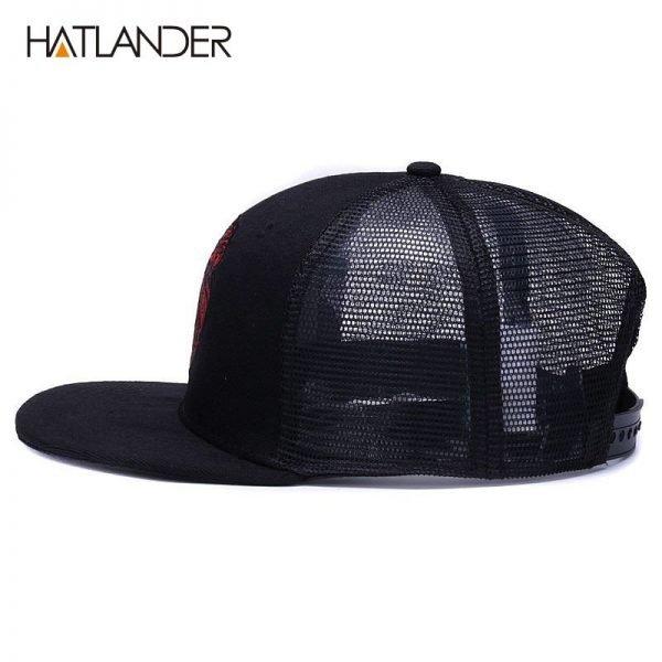 [HATLANDER]Original black baseball caps for boys girls summer sun hats embroidery lion mesh snapbacks hip hop bone trucker hat 2