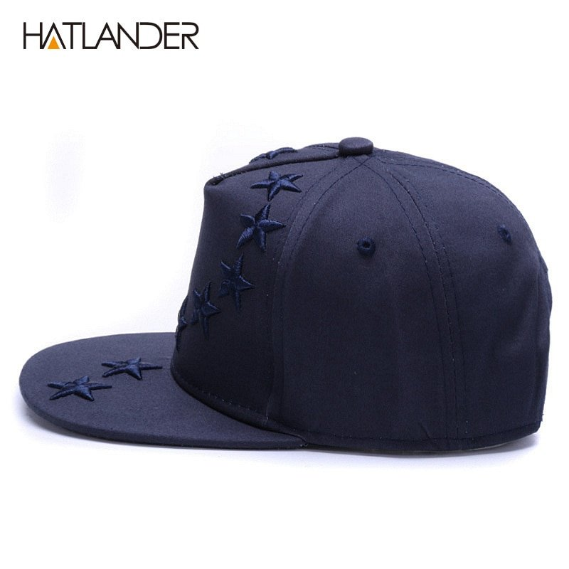 Boys Caps Kids Cotton Solid Colors Flat Brim Embroidered Star Baseball Sun Hats