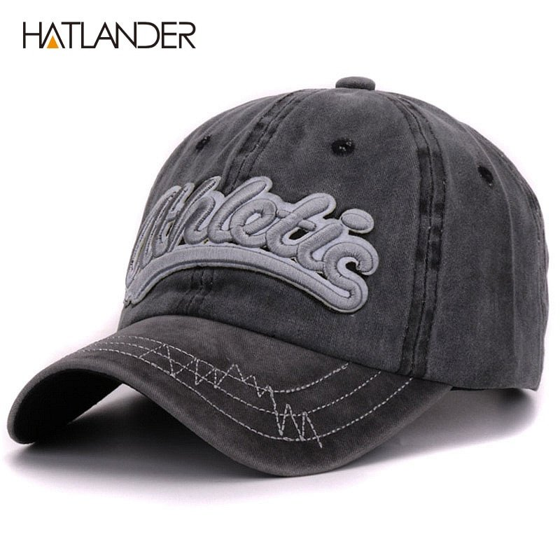 f0d4ac965d7 Hatlander vintage cotton washed baseball caps men casual sports hats gorras women  3D embroidery letter curved dad hat cap unisex - Cap shop