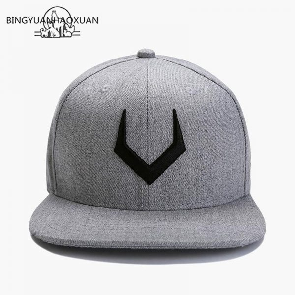 2020 High Quality Gray Wool Snapback 3D Pierced Embroidery Hip Hop Cap Flat Bill Baseball Cap for Adult 2
