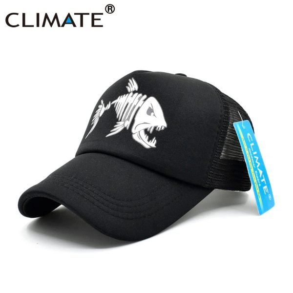 CLIMATE Fishbone Trucker Cap Men Fishing Skeleton Fish Bone Cap HipHop Baseball Caps Summer Fisher Man Mesh Caps Hat for Men 6