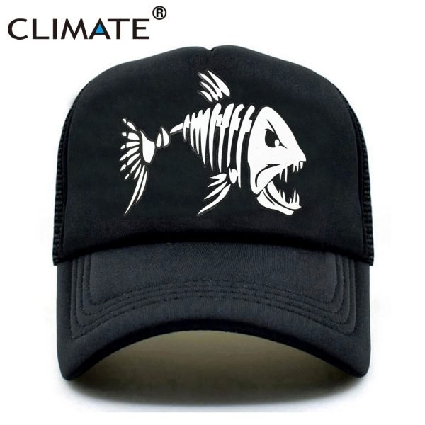 CLIMATE Fishbone Trucker Cap Men Fishing Skeleton Fish Bone Cap HipHop Baseball Caps Summer Fisher Man Mesh Caps Hat for Men 2