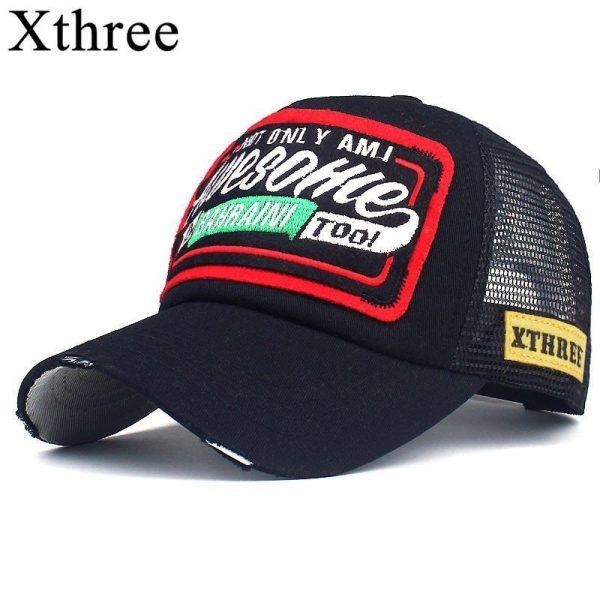 Xthree Summer Baseball Cap Embroidery Mesh Cap Hats For Men Women Snapback Gorras Hombre hats Casual Hip Hop Caps Dad Casquette 2