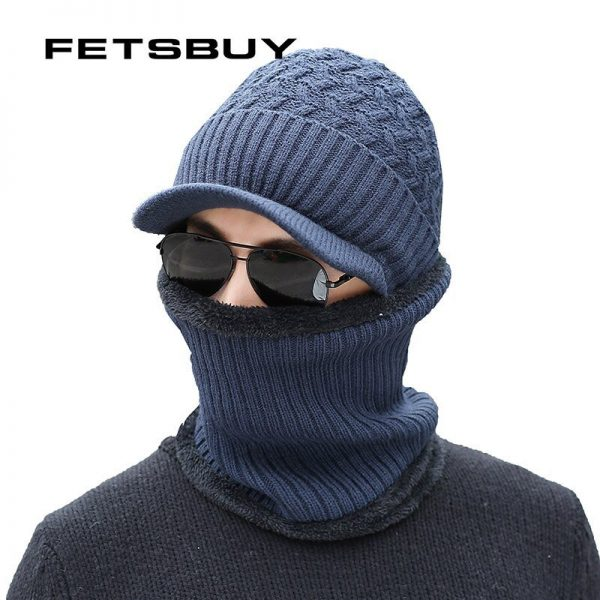 2018 Winter Beanie Hat Scarf skullies beanies Soft Skull Warm Baggy Cap Mask Gorros Winter Hats For Men Women Knitted Hat 4