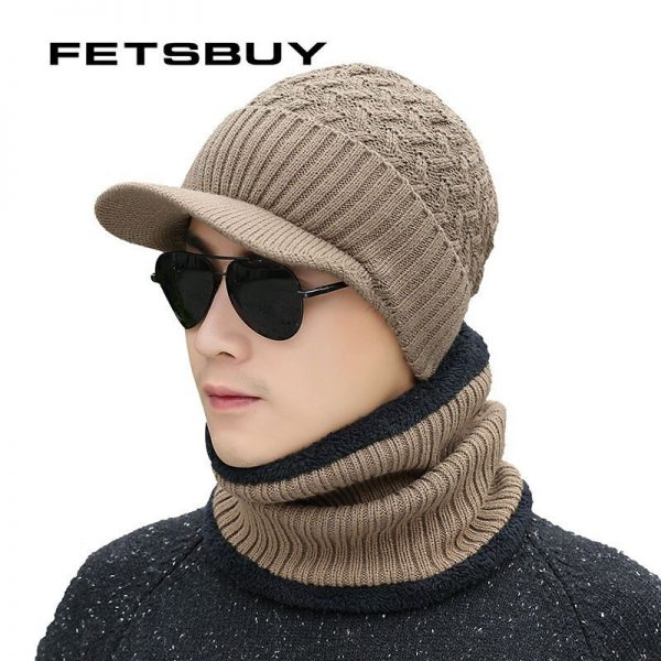 2018 Winter Beanie Hat Scarf skullies beanies Soft Skull Warm Baggy Cap Mask Gorros Winter Hats For Men Women Knitted Hat 6
