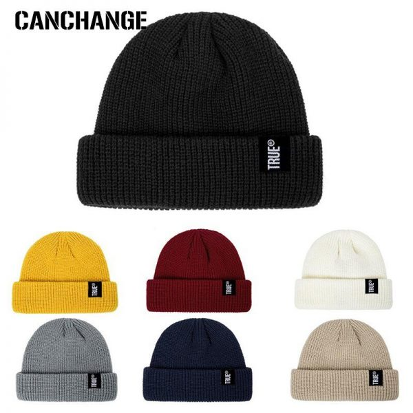 2021 Fashion Unisex Winter Hat Men Cuffed Cib Knit Hat Short Melon Ski Beanies Autumn Winter Solid Color Casual Beanie Hat 4