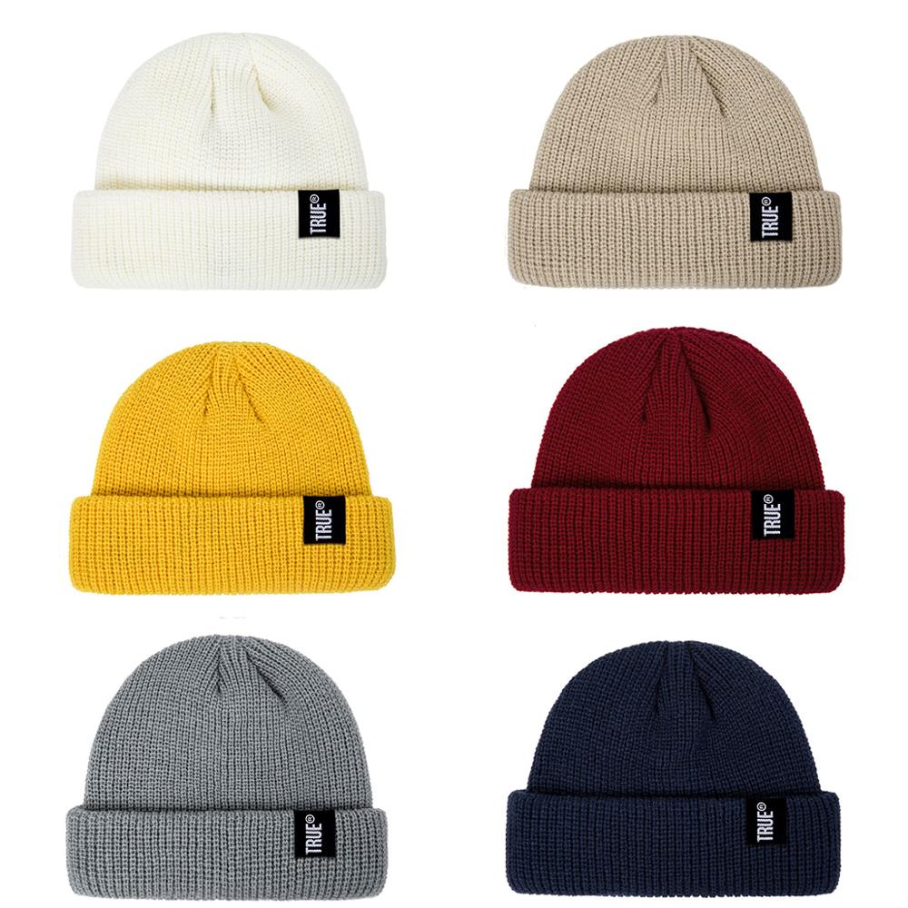 2019 Fashion Unisex Winter Hat Men Cuffed Cib Knit Hat Short Melon Ski Beanies Autumn Winter Solid Color Casual Beanie Hat 9