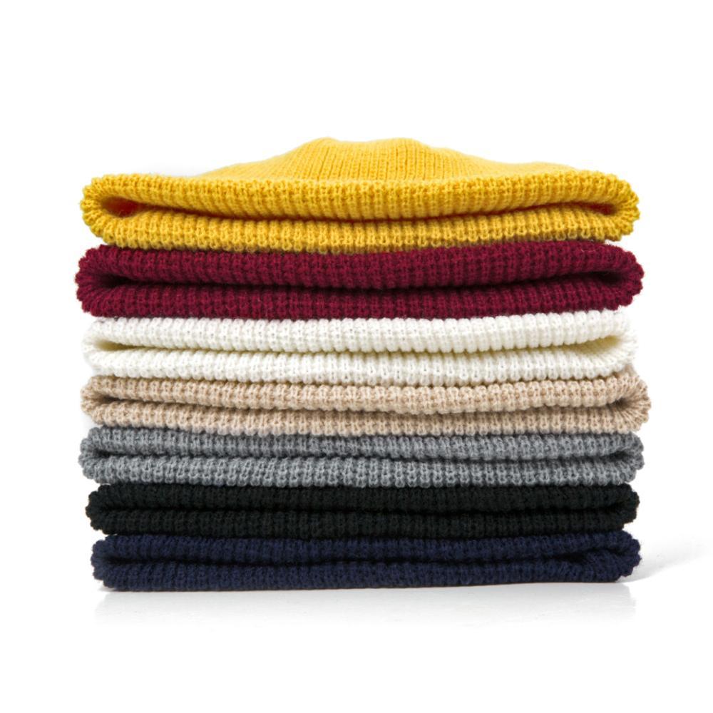 2019 Fashion Unisex Winter Hat Men Cuffed Cib Knit Hat Short Melon Ski Beanies Autumn Winter Solid Color Casual Beanie Hat 11