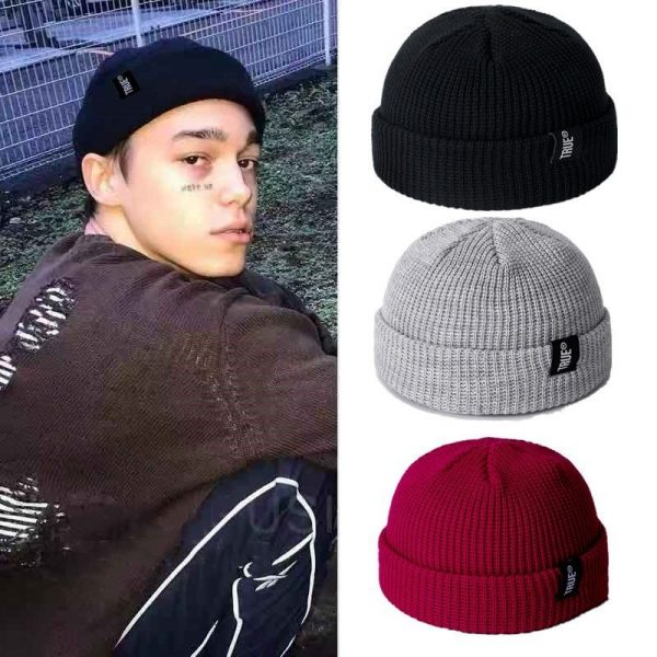 2021 Fashion Unisex Winter Hat Men Cuffed Cib Knit Hat Short Melon Ski Beanies Autumn Winter Solid Color Casual Beanie Hat 2