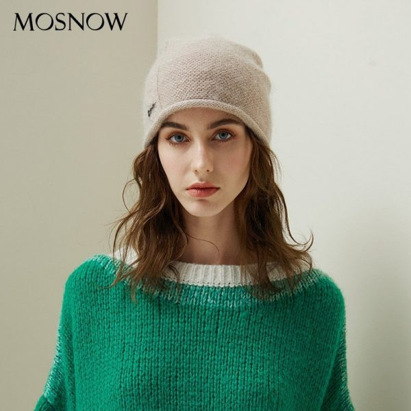 2019 New Women Hat Baggy Bonnet Beanies Female Rabbit Hair Wool Knitted Winter Hats Soft Skiing Slouchy Beanie With Back Opening 6