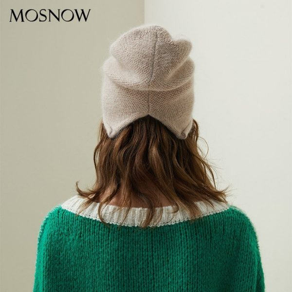 2019 New Women Hat Baggy Bonnet Beanies Female Rabbit Hair Wool Knitted Winter Hats Soft Skiing Slouchy Beanie With Back Opening 10