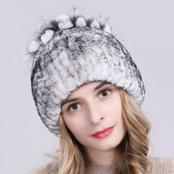 2019 Russia Hot Sale Winter Real Fur Beanies Hat Women 100% Genuine Real Rex Rabbit Hat Good Elastic Knitted Rex Rabbit Fur Caps 12