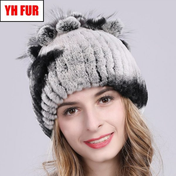 2019 Russia Hot Sale Winter Real Fur Beanies Hat Women 100% Genuine Real Rex Rabbit Hat Good Elastic Knitted Rex Rabbit Fur Caps 2
