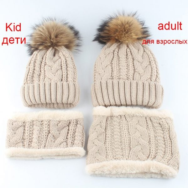 2019 Womens Hats With Scarf Warm Fleece Inside Beanie Girls Winter Cap For Women Real Mink Fur Pompom Hat Female Knitted Caps 6
