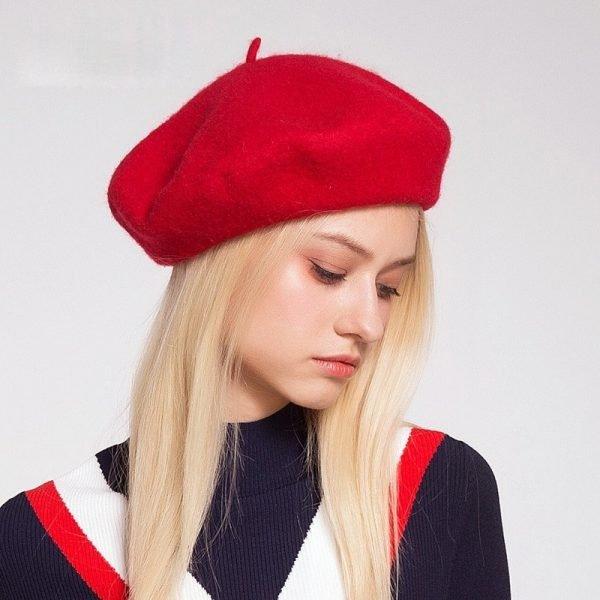 Elegant Lady Women Wool Felt Warm French Classic Beret Beanie Slouch Hat Cap Tam 4
