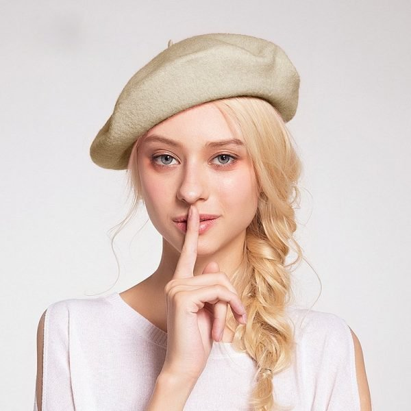 Elegant Lady Women Wool Felt Warm French Classic Beret Beanie Slouch Hat Cap Tam 6
