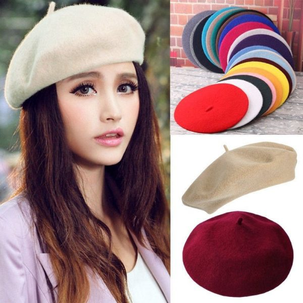 Elegant Lady Women Wool Felt Warm French Classic Beret Beanie Slouch Hat Cap Tam 10
