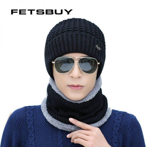 FETSBUY 2018 Winter Beanie Hat Scarf skullies beanies oft Skull Warm Baggy Cap Mask Gorros Winter Hats For Men Women Knitted Hat 4