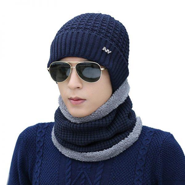 FETSBUY 2018 Winter Beanie Hat Scarf skullies beanies oft Skull Warm Baggy Cap Mask Gorros Winter Hats For Men Women Knitted Hat 8