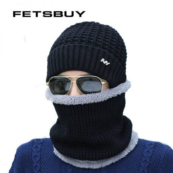 FETSBUY 2018 Winter Beanie Hat Scarf skullies beanies oft Skull Warm Baggy Cap Mask Gorros Winter Hats For Men Women Knitted Hat 2