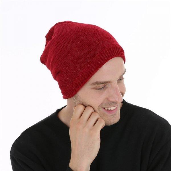 FETSBUY  Autumn And Winter Bonnet Beanies Hat Women Fashion Flashing line Knitted Skullies Beanie Cap Men Add Velvet Warm #19009 10