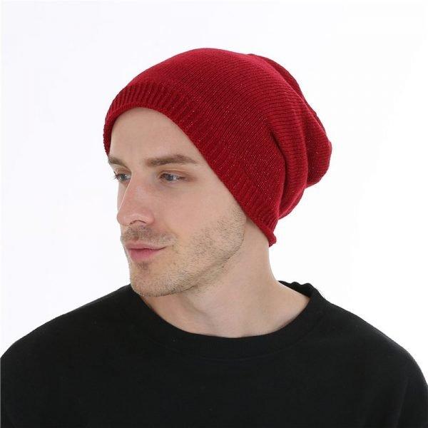FETSBUY  Autumn And Winter Bonnet Beanies Hat Women Fashion Flashing line Knitted Skullies Beanie Cap Men Add Velvet Warm #19009 8