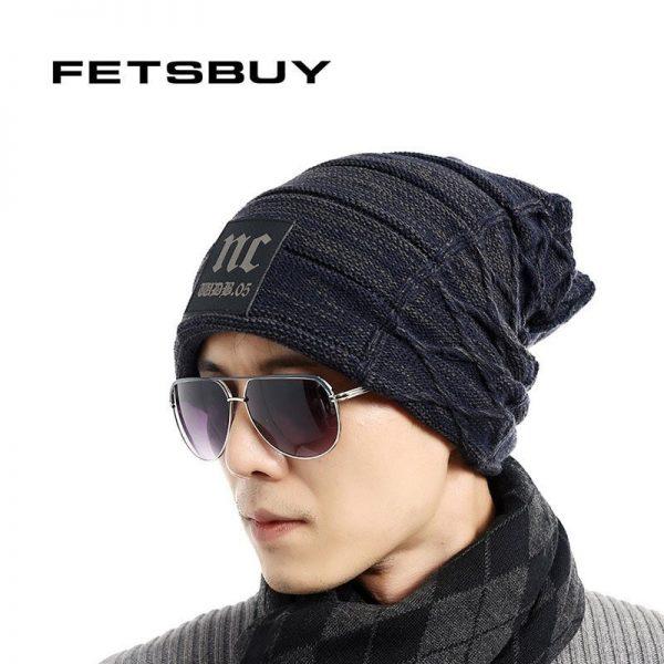 FETSBUY Brand Beanies Knit Men'S Winter Hat Caps Thick Skullies Bonnet Hats For Men Women Beanie Female Warm Baggy Knitted Hat 2